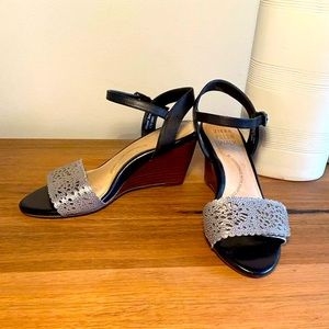 Ziera black and silver wedge sandals
